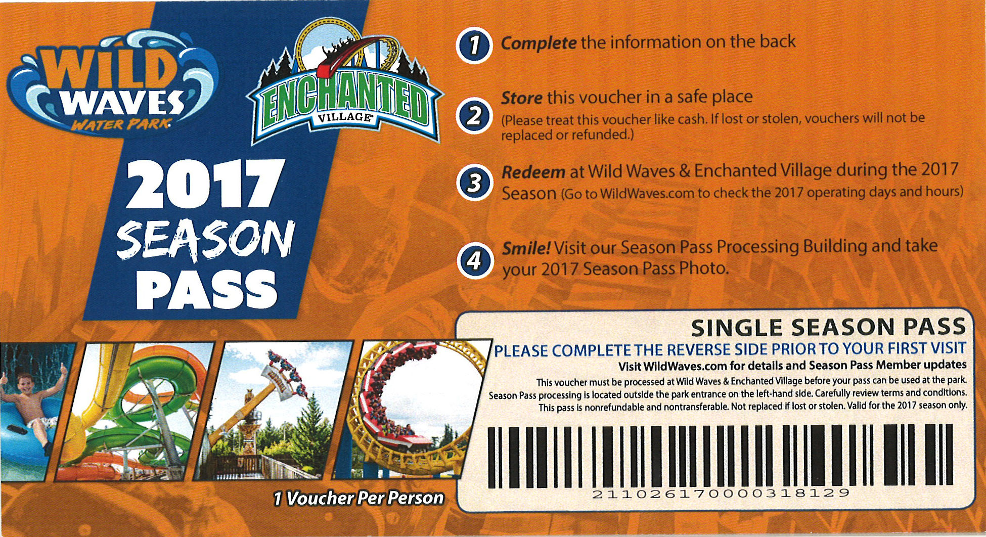 Wild Waves & Enchanted Village  $69.99 Single Season Pass