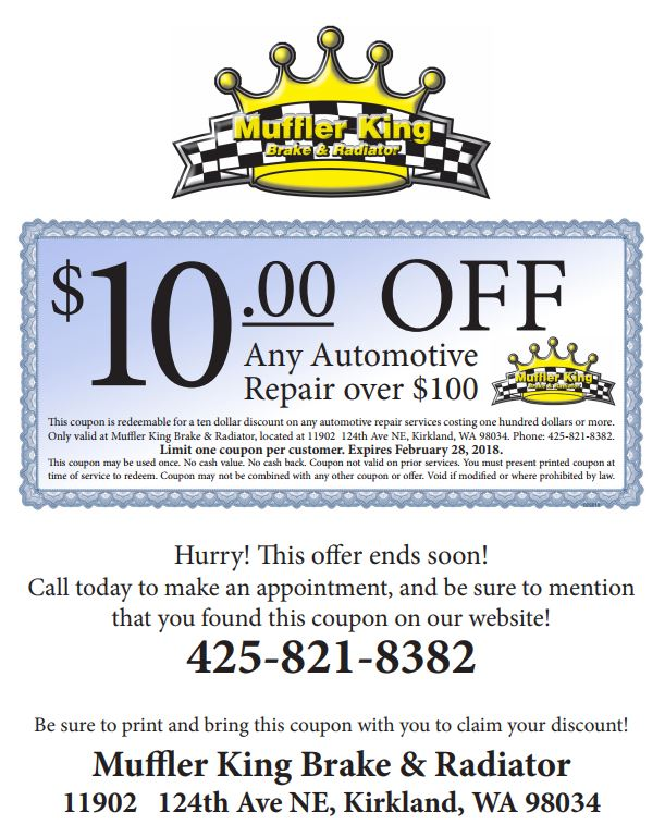 $10 BizX Off Any $100 Automotive Repair at Muffler King Brake & Radiator