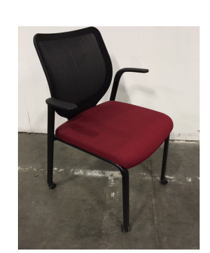 Hon Nucleus Side Chair w/ Casters (red seat)
