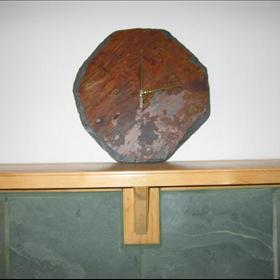 "Our ""Natural Stone Wall Clocks""TM avlb. on our website are a great piece of Functional Art Work! The stone for each Wall Clock is carefully hand selected from the Pacific Northwest and from all over the world. Our Slate Wall Clocks are individually Hand-Sculpted using our ""Secret"" sculpting Method by our talented Native Seattle Artist. This method exposes hundreds of thousands of years of Sedimentary Rock layers and creates Shapes that cannot be duplicated. ALL Pieces are ONE OF A KIND and no two in the Whole World will ever be identical! Our Wall Clocks are Absolutely UNIQUE and Very BEAUTIFUL! The colors in each Wall Clock are remarkable and each will vary slightly in size and color."