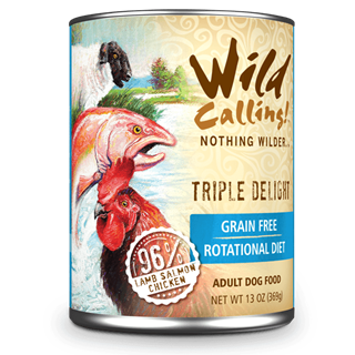 Wild Calling Adult Canned Dog Food in Trilple Delight Flavor