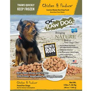 OC RAW K9 Chicken and Produce Meaty Rox 3 lbs Dog Food