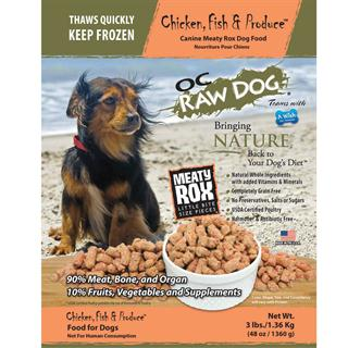 OC RAW K9 Chicken, Fish, and Produce Meaty Rox 3lb Bag Dog Food
