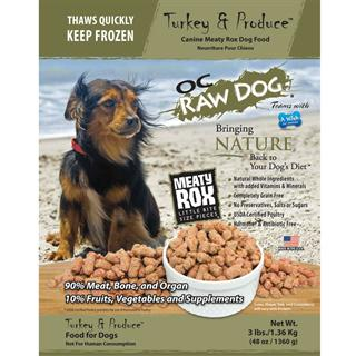 OC RAW K9 Turkey and Produce Meaty Rox 3lb Bag Dog Food