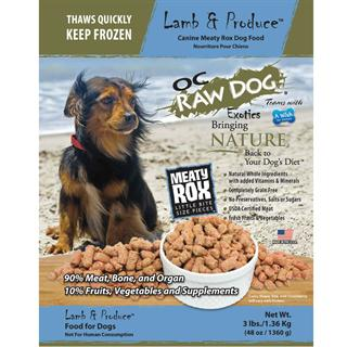OC RAW K9 Lamb and Produce Meaty Rox 3lb Bag Dog Food