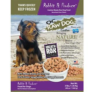 OC RAW K9 Rabbit and Produce Meaty Rox 3lb Bag Dog Food