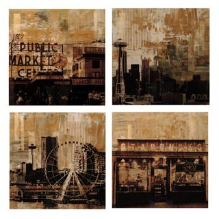 "Brooke Westlund Seattle Gold Suite - BWGold4 (set of 4) Each painting is 24"" x 24 "" Mixed Media on Canvas $ 2500 US (set of 4)"