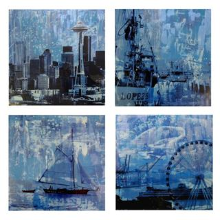 Brooke Westlund Seattle Blues Suite - BWBlue4 (set of 4) Each painting is 24 x 24 Inches Mixed Media on Canvas $ 2500 US
