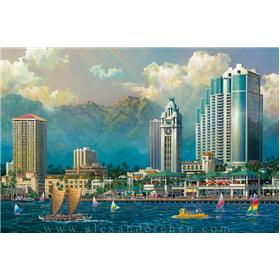 "Alexander Chen ""Aloha Tower"" Artwork"
