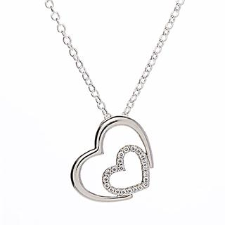 Silver & Cubic Zirconia Hearts Pendant Necklace