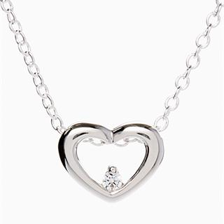 Silver & Cubic Zirconia Heart Pendant Necklace