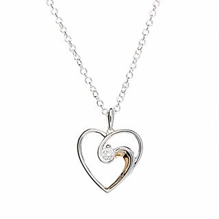 Silver & Cubic Zirconia Heart Swirl Pendant Necklace