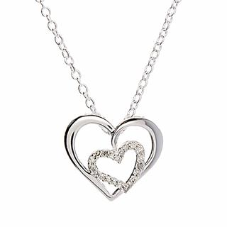 Silver & Cubic Zirconia Two-Heart Pendant Necklace