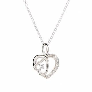 Silver & Cubic Zirconia Heart Wave Pendant Necklace