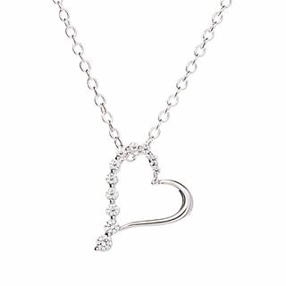 Silver & Cubic Zirconia Studded-Heart Pendant Necklace