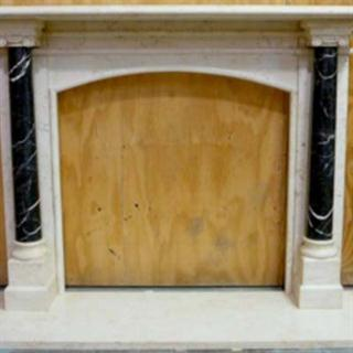 Egyptian Limestone Fireplace Mantel with Black Marble Pillars
