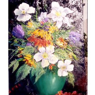 Bouquet in Green Vase Original Oil Painting by Sonnie Imes