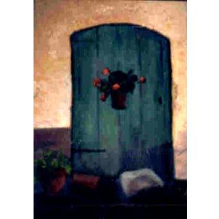 Door with Geraniums Original Oil Painting by Sonnie Imes