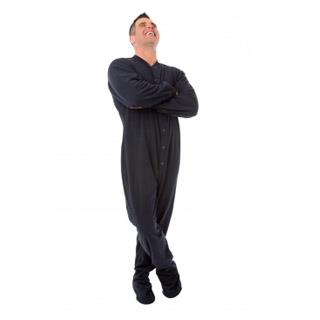 Adult Fleece Footed Pajamas for Him or Her - Navy - (XS S M L XL)