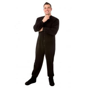 Adult Fleece Footed Pajamas - Black - (XS S M L XL)