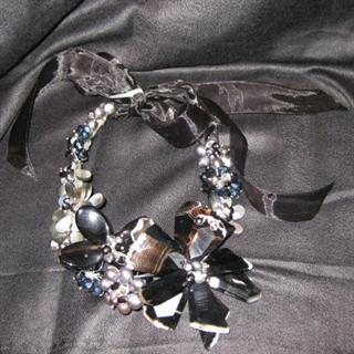 Pearl, Agate, & Ribbon Necklace