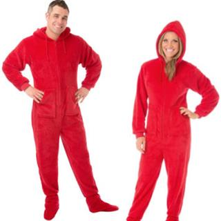 Plush Adult Footed Pajamas - Red - (XS S M L XL)