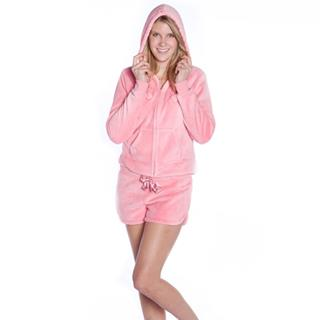 Plush Adult Hoodie Jacket with Shorts Set Pink - ( Sizes XS S M L XL )