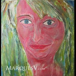 "French Village Series: ""Beautiful Blond"" Original Facial Painting/Marques Vicker"