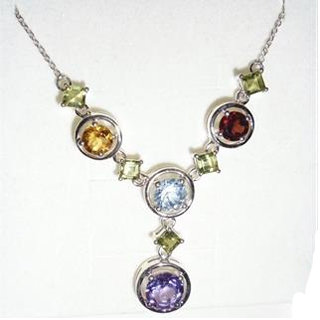 10ct Genuine Multi Gem 925 Sterling Silver Necklace
