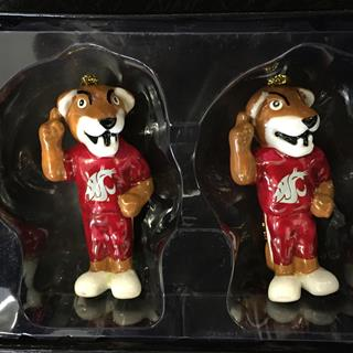 WSU Butch Set of  2 Christmas Ornaments