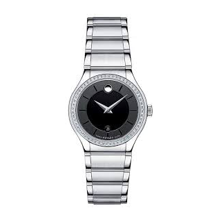 Women's Movado Quadro Diamond Stainless Steel Black Dial