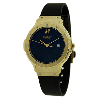 Hublot Classic Ladies 26MM Yellow Gold Black Dial Rubber Watch