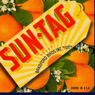 1940s Suntag Orange Blossom Fruit Crate Label