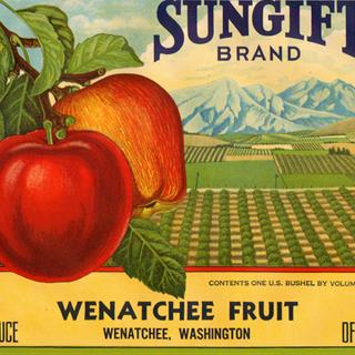 Crate Label Wenatchee Vintage Western Sungift Orchard Scene Original 1930s