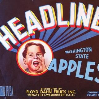 Original Rare Headline Apple Crate Label Wenatchee, Washington
