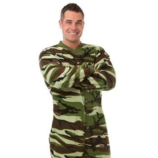 Adult Fleece Footed Pajamas - Green Camo - (XS S M L XL)