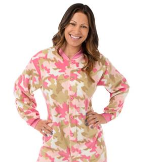 Adult Fleece Footed Pajamas - Pink Camo - (XS S M L XL)