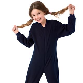 Fleece Kid's Footed Pajamas - Navy (XS-5/6 S-7/8 M-10/12 L-14/16)
