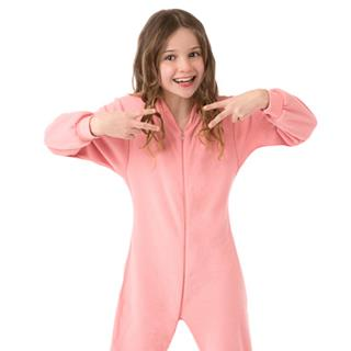 Fleece Kid's Footed Pajamas - Pink (XS-5/6 S-7/8 M-10/12 L-14/16)