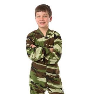 Fleece Kid's Footed Pajamas - Green Camo (XS-5/6 S-7/8 M-10/12 L-14/16)