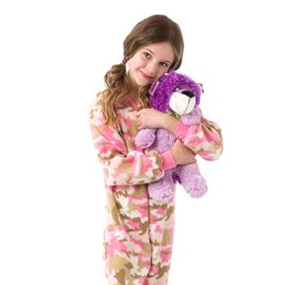 Fleece Kid's Footed Pajamas - Pink Camo (XS-5/6 S-7/8 M-10/12 L-14/16)