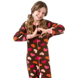 Fleece Kid's Footed Pajamas - Hearts on Chocolate (XS-5/6 S-7/8 M-10/12 L-14/16)