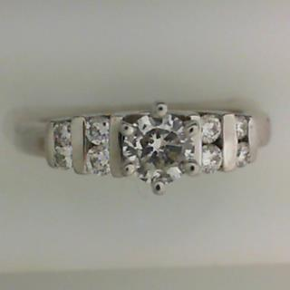 14K White Gold Diamond Engagement Ring #100-11