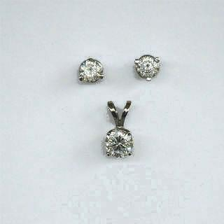 Zolastar Brilliant White Gold Earrings & Pendant Set