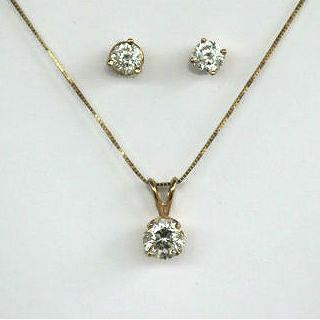 Zolastar Brilliant Yellow Gold Earrings & Pendant with Chain Set