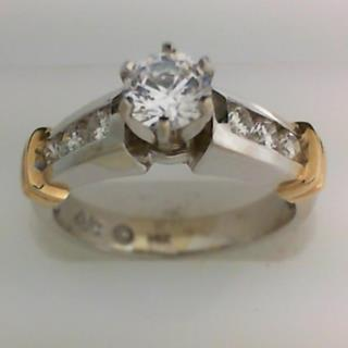 14K Two Tone gold Diamond Engagement Ring #100-34
