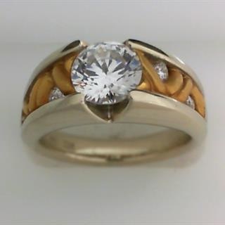 14K Two Tone gold Diamond Engagement Ring #420-26