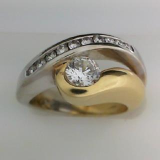 14K Two Tone gold Diamond Engagement Ring #100-44