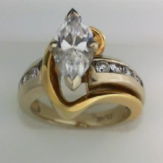 14K Two Tone Gold Diamond Engagement Ring #140-58