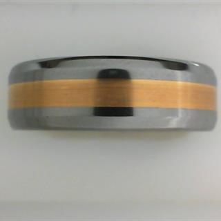 Men's Tungsten & 18K Yellow Gold Inlay Ring #550-103